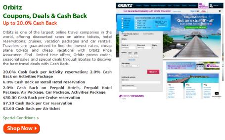 Ebates.com – 20% rebate on Orbitz 'Activities'–Save on Disneyland tickets!