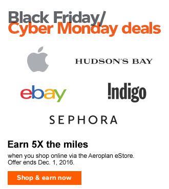 Aeroplan Black Friday deals – Ends Dec 1, 2016